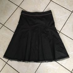 """Rebecca Taylor pinstripe lace trim skirt 6 Fantastic work skirt with a twist! Contrast pinstripes with a small lace trim at the hem. Approx 15"""" waist, approx 17.5"""""""" hip, approx 23.5"""" in length. Skirt is lined, rear zipper and hook closure. Excellent pre-loved condition, look brand new!  81% cotton, 15% polyamide, 4% elastane. Rebecca Taylor Skirts"""