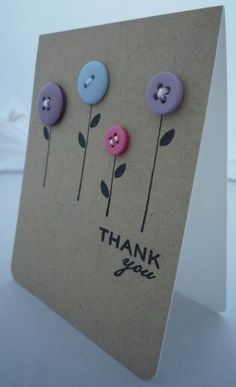Paper Embroidery card with buttons - Hi, I'm back with another quick post to share this simple little card; I stamped the flower stems and the greeting then stitched on the buttons; Super simple but I really li… Handmade Greetings, Greeting Cards Handmade, Tarjetas Diy, Paper Embroidery, Embroidery Tattoo, Embroidery Designs, Embroidery Stitches, Embroidery Monogram, Simple Embroidery