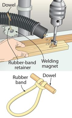 To hold a shop-vacuum hose on target on your drill press, simply attach a welding magnet (no. 1939, 800-423-2567, harborfreight.com) to the drill-press column. Then, secure the vac hose to it using a rubber-band retainer like the one shown below left. —Serge Duclos, Delson, Que.