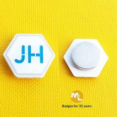 White dye plated small badge with enamel & epoxy coating, magnet fixing. Name Badges, Pin Badges, Make Your Own Badge, Custom Badges, Epoxy Coating, Charity, Plating, Enamel, Create