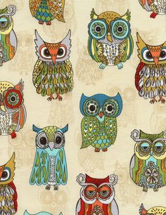 owl pattern ♥ Funky Owls from Timeless Treasures