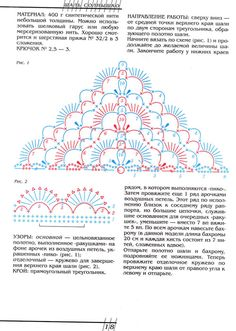 Описание, схема вязания шали Солнышко, обвязка края