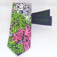NWT Lilly Pulitzer Pink White Green Men's Tie NeckTie $95 100% Silk #LillyPulitzer #NeckTie