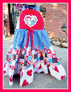 New Custom boutique Valentines Raggedy Ann & Andy Princess Twirl Party girls dress  2 3 4 5 6 7 8. $39.99, via Etsy.
