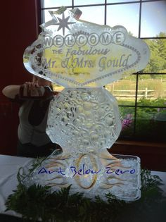 Bride and Groom Las Vegas sign martini luge ice sculpture