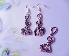 Ensemble boucles d'oreilles, pendentif, fil d'aluminium, rose, noir, argenté - 159  - parures - TOUT EN BOUCLES - Fait Maison