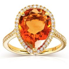 Annello by Kobelli 10k Yellow Gold Pear-shape Orange Citrine and 1/3ct... ($780) ❤ liked on Polyvore featuring jewelry, rings, yellow, pear cut ring, pear shape ring, halo diamond ring, round cut rings and citrine band rings