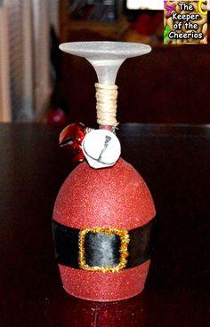 Christmas Santa Wine Glass Candle Holders