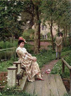 'Off'. (1899). (by Edmund Blair Leighton).