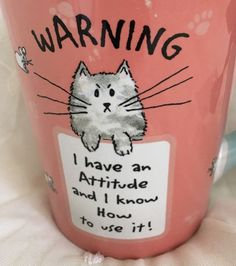Funny Cat ATTITUDE Warning Coffee Cup Pink Crazy Cat Lady Angry Sassy Diva  New
