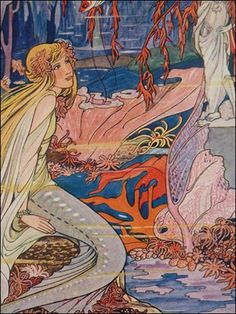 A vintage mermaid book illustration  by Rie Cramer. (Dutch)