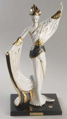 Vittorio Sabadin Vittorio Sabadin Capodimonte Figurines Art Deco Woman-Black/Gold Head - Boxed