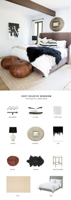 Cozy white black and leather eclectic bedroom by Two Fold Designs gets recreated for less by copycatchic luxe living for less budget home decor and design