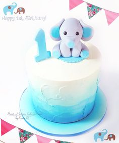 Blue ombré baby shower cake   ombré cakes   baby elephant cake topper