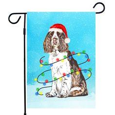 English Springer spaniel Dog Christmas Garden Flag, Christmas House flag A perfect Home Decor for Dog Lovers, Dog lovers Gifts