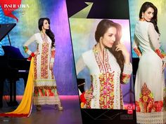 Ethnically designed Party wear Straight cut Off-White Georgette Salwar suit with Beautiful thread and Stone work and Karachi Laces on the hemline and Sleeves. Matching Santoon Bottom and Chiffon Duppatta included.