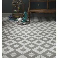 Ca'Pietra Cement Encaustic Modern Harlequin Pattern Tile - Flooring from Period Property Store UK Harlequin Pattern, Grey Pattern, Diamond Pattern, Floor Patterns, Tile Patterns, Conservatory Flooring, Concrete Tiles, Cement, Ceramic Flooring