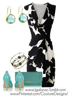 Wedding guest outfit. The splashes of mint looks classy with this black and white dress.