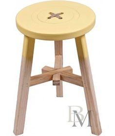 Taboret drewniany Guzik żółty