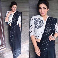 Saree Blouse Designs: Latest & Evergreen collections of 2019 Silk Saree Blouse Designs, Saree Blouse Patterns, Designer Blouse Patterns, Designer Dresses, Sari Blouse, Saree Draping Styles, Saree Styles, Black And White Saree, Bollywood Designer Sarees