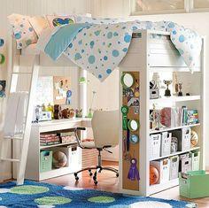 cama alta con escritorio y estanteria debajo