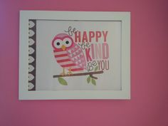Baby room wall decor / pink owl nursery theme by JuiceBoxBaby