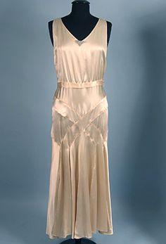 Cream Silk Bias Cut Evening Gown, c. 1930s.