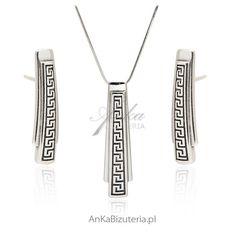 Biżuteria srebrna wzór grecki Dog Tag Necklace, Arrow Necklace, Dog Tags, Jewelry, Jewlery, Bijoux, Schmuck, Jewerly, Jewels