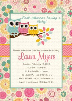 owl baby shower invitations with owls turquoise by katiedidesigns, $13.00