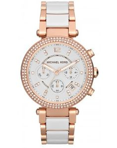 f17281d72e29 Ladies Michael Kors Parker Rose and White Watch. Michael Kors offsets  feminine colours with masculine designs. This large style chronograph watch  exudes ...