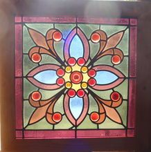One of a Pair of American stained glass jeweled window, Shop Rubylane.com