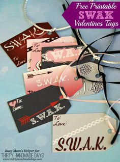 Free Printable SWAK Valentines Tags. Add these free printable tags to your Valentine's day gifts.