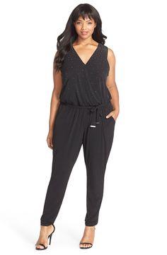 0ae4c7625d7 MICHAEL Michael Kors Studded Faux Wrap Jumpsuit (Plus Size) Wrap Jumpsuit