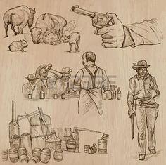 saloon western: Far West. Collection d'une main dessiné des illustrations vectorielles. Croquis à main levée. Chaque dessin comporte plusieurs couches de lignes. Couleur de fond est isolé. Modifiable en couches et les groupes. Illustration