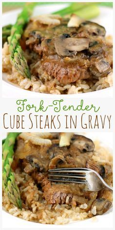 Cubed steaks are simmered in broth with mushrooms and onions until they are fork tender and delicious! This recipe is always a favorite at our house! #beef #cubedsteak #cubesteak