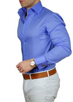How can a shirt be so sexy? S by Sebastian Signature High Double Button Collar. Check out the latest collection. Mens Fashion Wear, Suit Fashion, Fashion 2020, Style Fashion, Fashion Ideas, Fashion Trends, Business Casual Men, Men Casual, Moda Formal