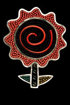 "Brooch | Mary Kanda.  ""Coral dahlia"" 1999.   Sterling silver, glass beads, torch-fired glass, tile grout"