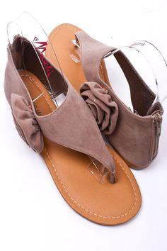 Suede Flower Sandals