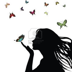 Illustration about Woman silhouette girl with colorful butterfly on white background. Illustration of hair, butterfly, attractive - 18711286 Silhouette Clip Art, Girl Silhouette, Free Vector Images, Vector Art, Photo Images, Illustration, Sketches, Artwork, Artist