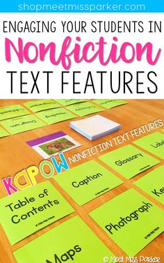Put down the book examples and bring out KAPOW! This game will have your students laughing through their learning of nonfiction text features! Reading Resources, Reading Strategies, Reading Activities, Teaching Reading, Reading Comprehension, Learning, Teaching Spanish, Student Teaching, Teacher Resources
