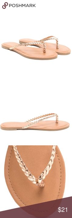 ✨Brand New✨ Metallic-Braid Thong Sandals -Rosegold ✨Brand New✨ Metallic RoseGold Vegan leather flip-flops feature skinny braided straps and a ridged sole. ✨Brand name used for exposure: bought in a boutique in NYC brand: Misbehave.  Size: 8 in Rosegold / True to size Man made materials Made in China Zara Shoes Sandals