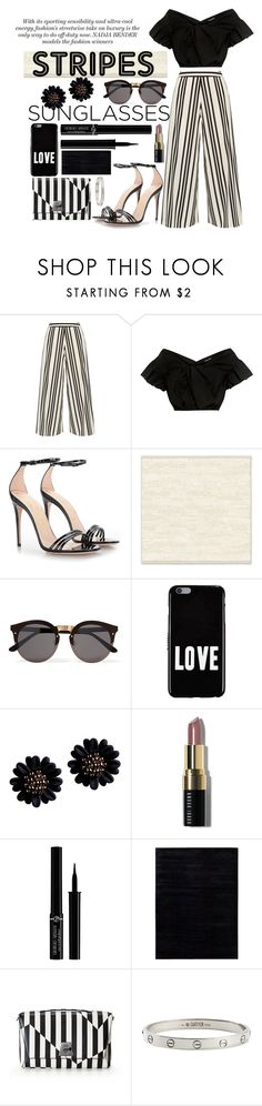 """""""Striped Pants"""" by nendeayesika ❤ liked on Polyvore featuring Alice + Olivia, Rachel Comey, Gucci, West Elm, Illesteva, Givenchy, Bobbi Brown Cosmetics, Giorgio Armani, Calvin Klein and Akris"""
