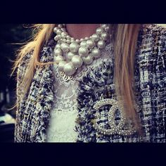 From the catwalk of Chanel to the cover of Vogue - Grand Pearls are the emerging trend!   Oversized Pearl Necklace layered with Chains   How to Wear this Trend at: www.iovich.com