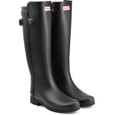 Hunter Tall Refined Back Strap Rubber Wellingtons (1.480 NOK) ❤ liked on Polyvore featuring shoes, boots, black, knee high rubber boots, rain boots, black wellington boots, tall rubber boots and black rain boots