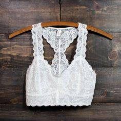 racer back all over scalloped lace bralette (white and black) - shophearts - 1 Cute Lingerie, Lingerie Outfits, Lingerie Sets, Bustiers, White Lace Bralette, Lacy Bra, Pantalon Long, Backless Bra, Wedding Dress