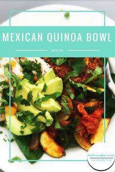 Delicious healthy Mexican quinoa bowl recipe - packed with delicious vibrant colours and flavours, this easy recipe uses cheat ingredients so it's ready fast. Perfect for midweek meals. Easy family food from daisies and pie. Clean Eating Recipes, Lunch Recipes, Appetizer Recipes, Vegetarian Recipes, Healthy Eating, Healthy Recipes, Easy Recipes, Delicious Recipes, Easy Weeknight Meals
