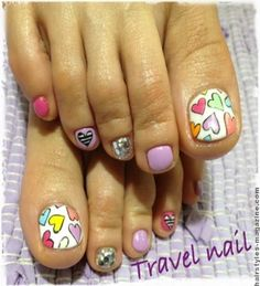 heart on toe nails Try New and Unique designs of Toe Nail Art