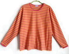 MARIMEKO Pink & Yellow Shirt Cotton Striped Top Nautical Shirt Finnish Clothing Vintage Marimekko Shirt M Size Clothing Women's Top by Vintageby2sisters on Etsy