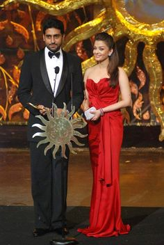 Indian film actress, Aishwarya Rai Bachchan with her actor husband, Abhishek Bachchan
