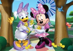 Minnie & Daisy having fun with the little ducklings.